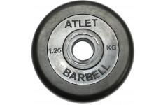 Диск обрезиненный, чёрного цвета, 31 мм, 1.25 кг Atlet